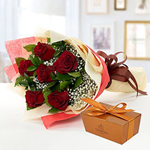 6 Red Roses and Godiva Chocolate Combo: Send Gifts to Bangladesh