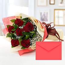 6 Red Roses Bouquet With Greeting Card: Send Gifts to Bangladesh