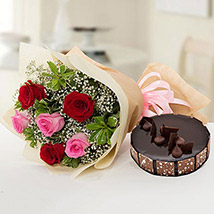 Beautiful Roses Bouquet With Chocolate Cake EG: Flower Delivery Egypt
