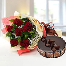Elegant Rose Bouquet With Chocolate Cake JD: Send Gifts to Jordan