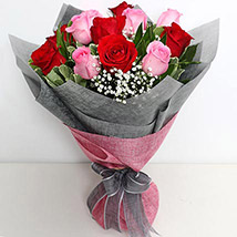 6 Pink And 6 Red Roses Bunch: Gifts in Kuwait