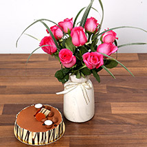 Alluring Dark Pink Roses and Cake: Flowers & Cakes