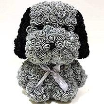 Artificial Grey Roses Dog: Rose Teddy Bears