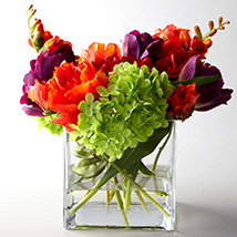 Artificial Mixed Flowers In Square Glass Vase: Artificial Flowers
