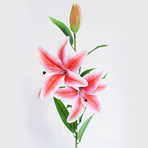 2 Stems of Artificial Pink Stargazer Lily: Artificial Flowers