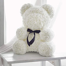 Artificial Roses White Crown Teddy: Rose Teddy Bears