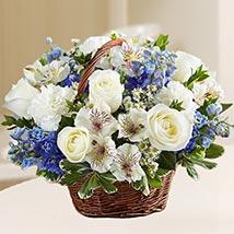 Basket Of Exquisite Flowers: Birthday Basket Arrangements