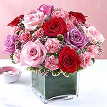 Bright Roses Vase: Love & Romance Flowers