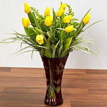 Bright Yellow Tulips In Maroon Vase: Anniversary Gift Ideas For Her
