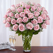 Bunch of 50 Gorgeous Pink Roses: Premium Flowers