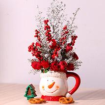 Ceramic Mug Flower Arrangement: Christmas Flowers to Dubai