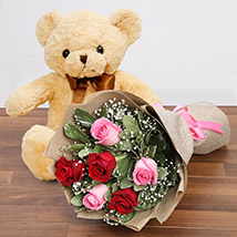 Charming Roses and Teddy Combo: Flowers & Teddy Bears