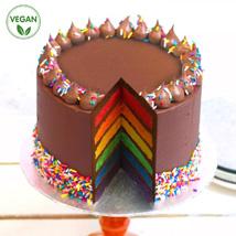 Choco Vanilla Rainbow Vegan Cake: