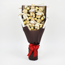 Chocolates and Teddy Bear Heart Shaped Bouquet: Birthday Chocolates