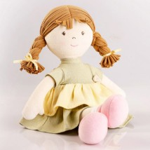 Cute Doll in Mint Green Dress Natural Cotton: Dolls