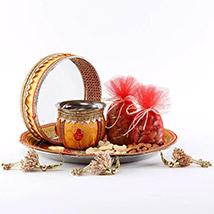 Designer Mustard Thali Set Sargi: Karwa Chauth Gifts