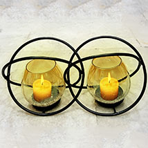 Double Ring Glass Candle Stand: Home Decor Items
