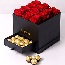 Forever Red Roses With Rochers In Box: Anniversary Hampers
