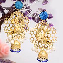 Gold Toned Peacock Shaped Jhumkas: Ladies Earrings