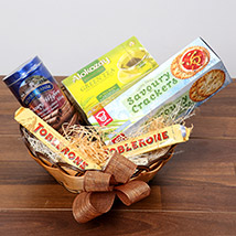 Green Tea and Munchies Basket: Birthday Gift Hampers