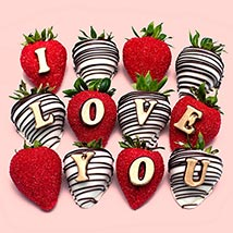 I Love You Chocolate Strawberries: Personalised Chocolates