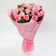 Passionate 20 Pink Roses Bouquet: Romantic Flowers