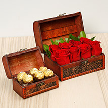 Passionate Red Roses and Chocolates Box: Flowers and Chocolates