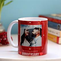 Personalised Anniversary Red Heart Mug: Personalised Gifts to Ras Al Khaimah