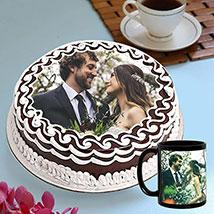 Personalised Chocolate Cake And Mug Combo: Personalised Mugs