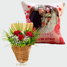 Personalised Cushion and Red Roses: Flowers N Personalised Gifts