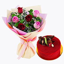 Pink and Red Roses with Red Velvet Cake: Romantic Gifts