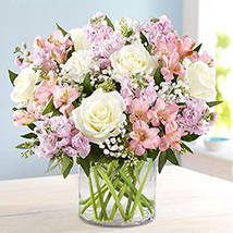 Pink and White Floral Bunch In Glass Vase:  Anniversary Flowers