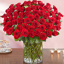 Ravishing 100 Red Roses In Glass Vase: Thank You Flowers