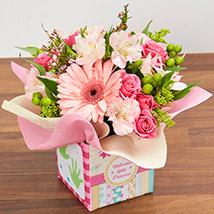 Ravishing Arrangement Of Pink Flowers: Newborn Baby Gifts