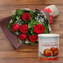 Red Roses Bouquet and Gulab Jamun Combo: Anniversary Flowers and Sweets