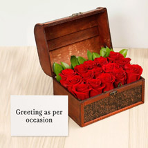 Red Roses Treasured Box With Greeting Card: Birthday Flowers & Greeting Cards