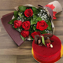 Red Roses with Red Velvet Cake: Anniversary Flowers and Cakes