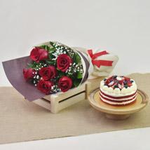 Red Roses with Red Velvet Cake: