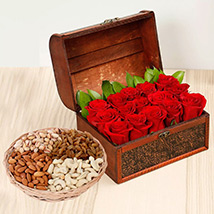 Rose Box Arrangement and Dry Fruits Combo: Flowers & Dry Fruits