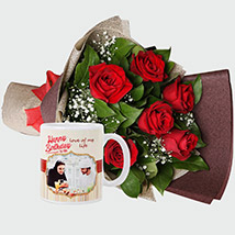 Roses Bouquet and Personalised Mug: Personalised Combos