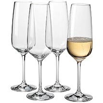 Set Of Transparent Champagne Flutes: