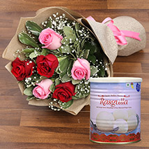 Splendid Roses Bouquet and Rasgulla Combo: Anniversary Flowers and  Sweets