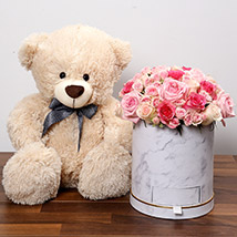 Stylish Box Of Pink Roses With Chocolates and Teddy: Flowers & Teddy Bears