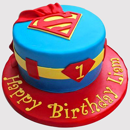 Super man Cake: 1st Birthday Cakes
