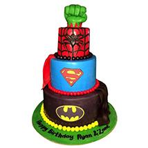 Superheroes Revisited Cake: Red Velvet Cake Dubai