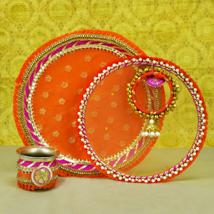 Thread Embroidery Orange Thali Set: Karwa Chauth Gifts