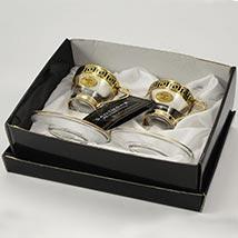 Transparent N Gold Tea Cup Set 2: Kitchen Accessories