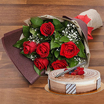 Triple Chocolate Cake and Red Roses Bouquet Combo: Anniversary Flowers & Cakes
