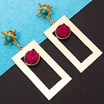 Turquoise Stones Studded Earrings: Ladies Earrings
