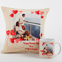 Perfect Love Personalized Combo: Anniversary Cushions